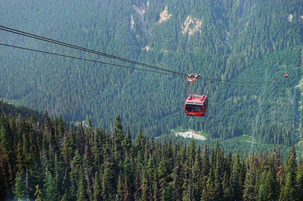 Gondole Peak 2 Peak dans les airs à Whistler