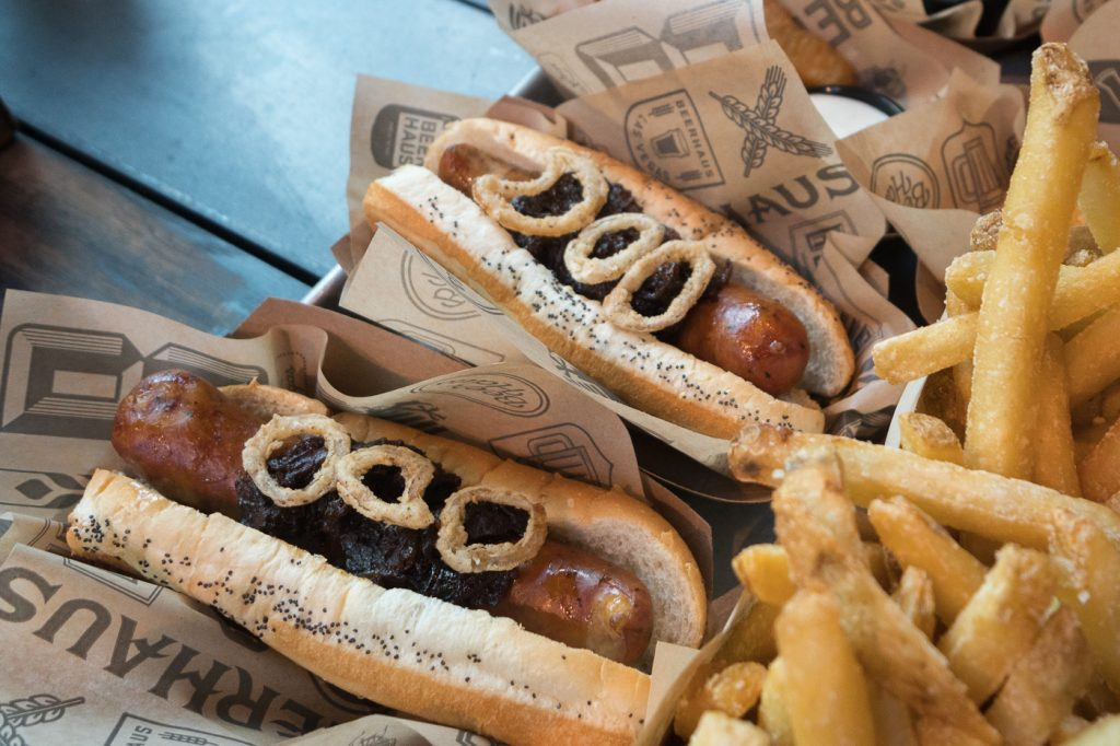 Hot dogs du Beerhaus at the Park - Voyage à Las Vegas à petit budget