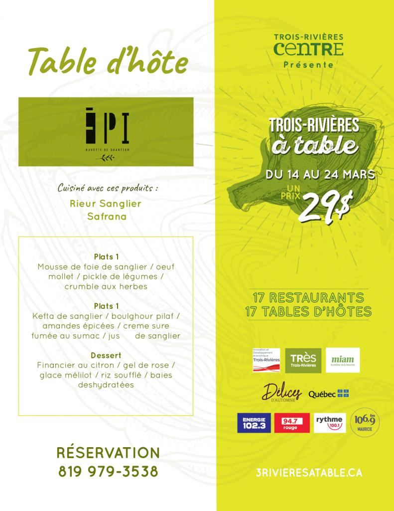 Menu de Trois-Rivières à table - Épi buvette de quartier