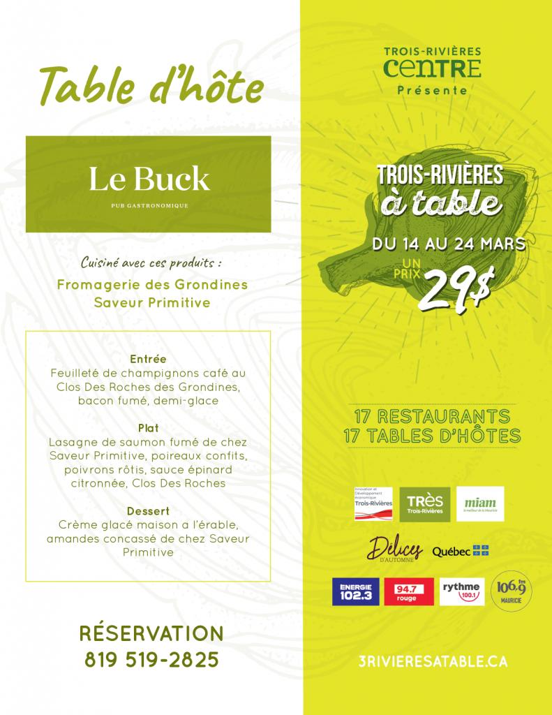 Menu Trois-Rivières à table - Le Buck pub gastronomique