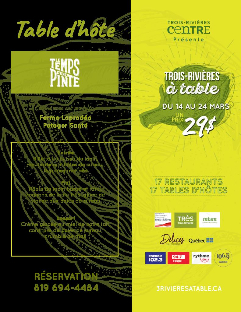 Menu de Trois-Rivières à table - Microbrasserie le Temps d'une Pinte