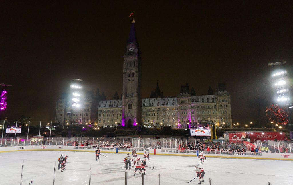 patinoire de Canada150 sur la colline parlementaire d'Ottawa, Canada