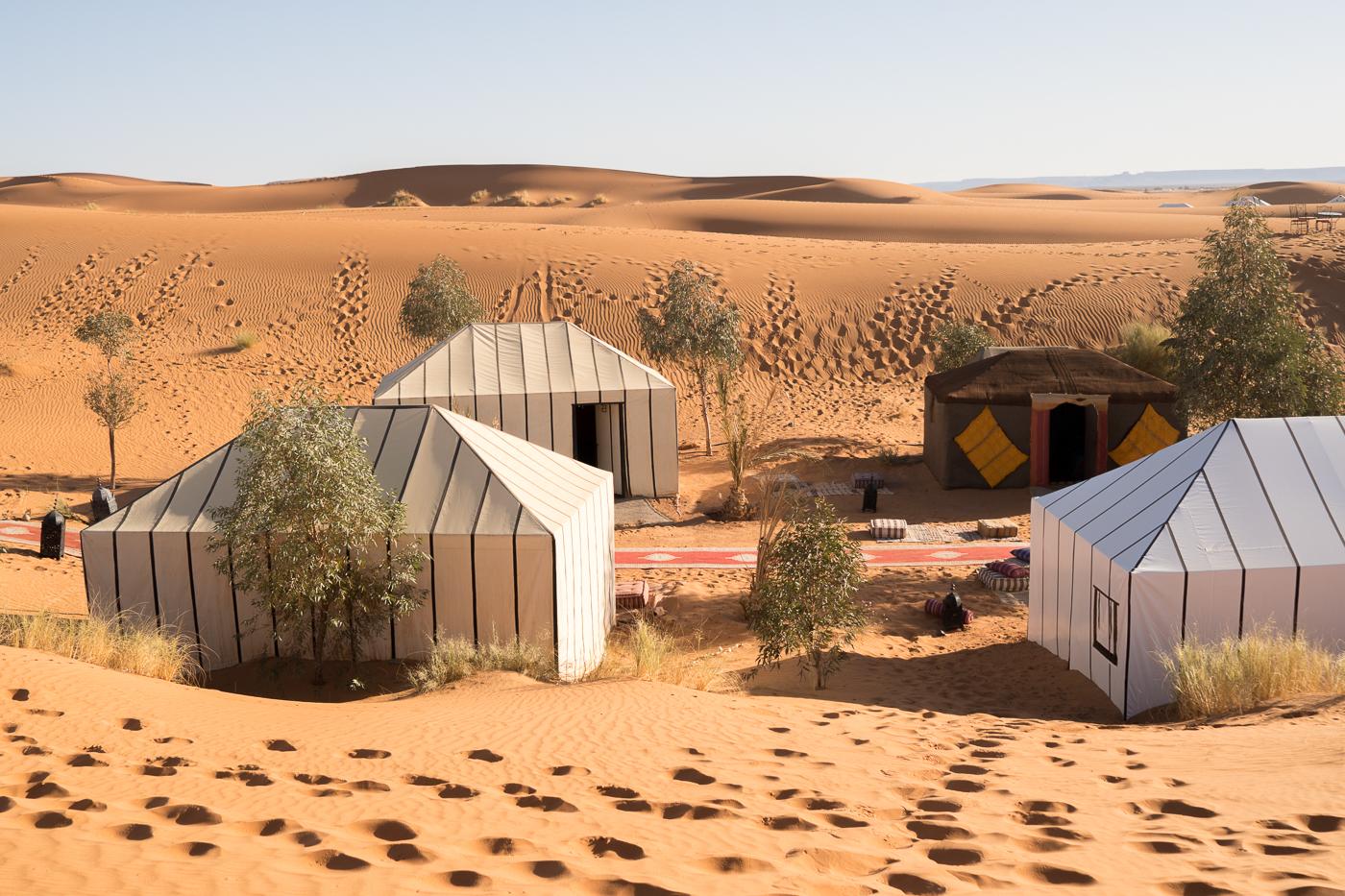 Nos tentes de Bivouac Azawad - nuitée de luxe dans le désert du Maroc