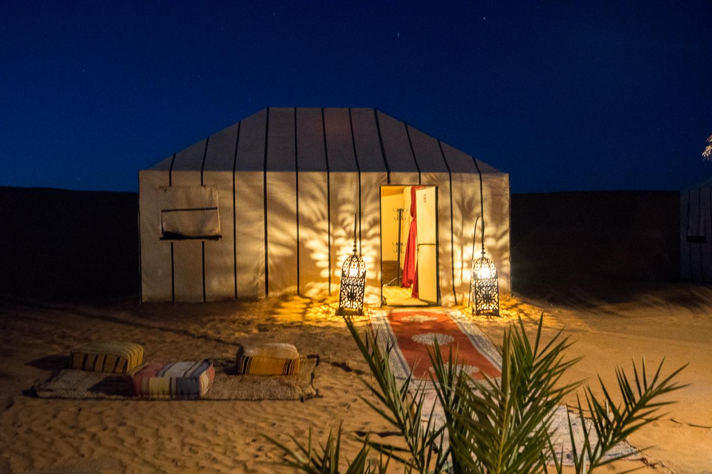 Notre tente de luxe au Bivouac Azawad avec Allo Destinations - Voyage au Maroc dans le désert