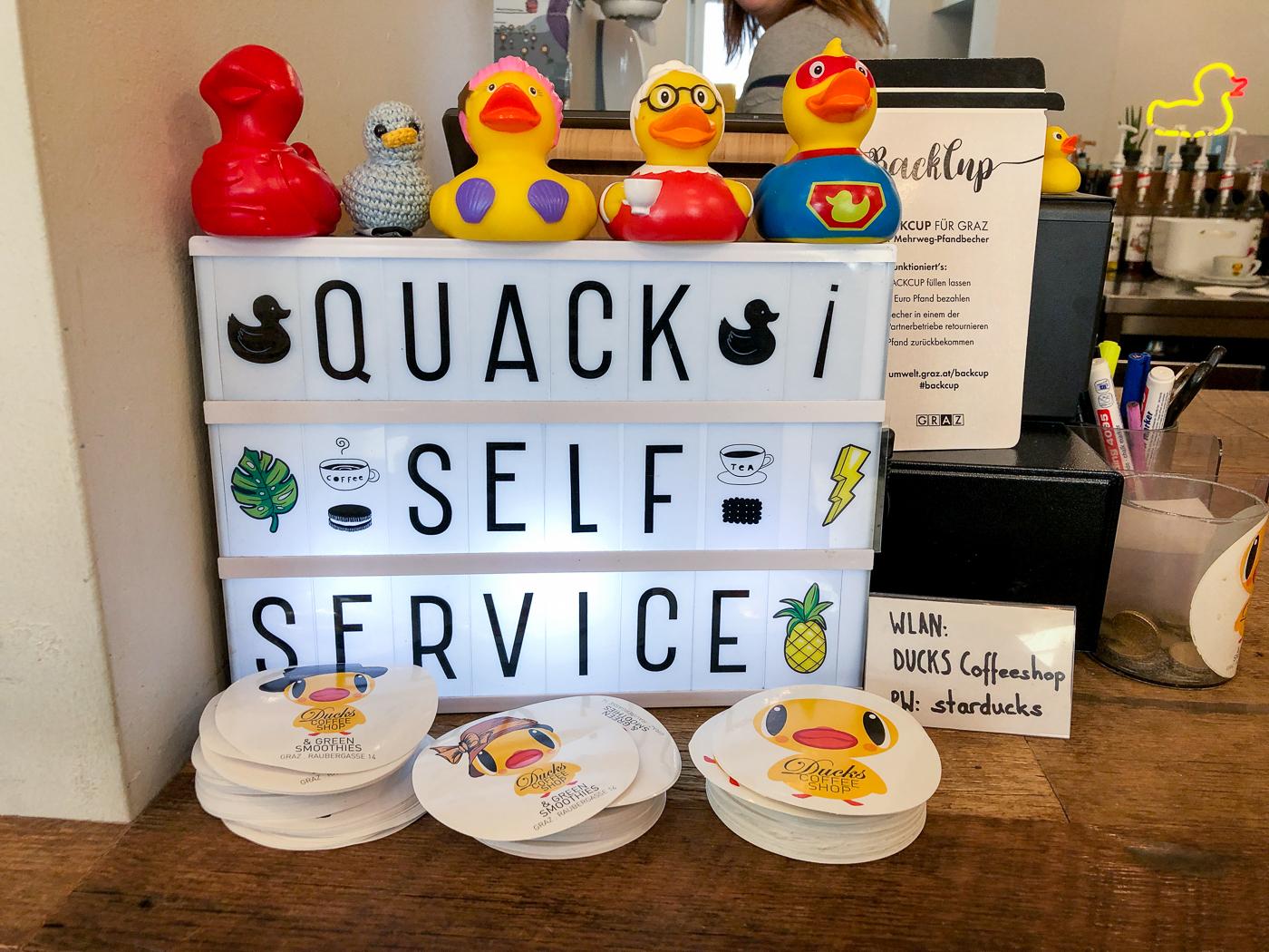 Affiche de canards du Ducks Coffee Shop de Graz