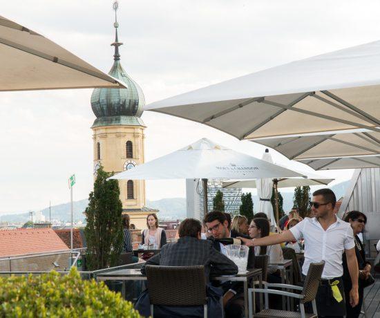 Vue de la terrasse du Café Freiblick de Graz