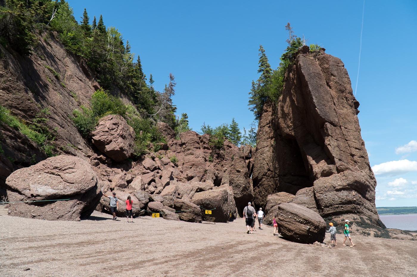 Marche sur le fond de l'océan à Hopewell Rocks au Nouveau-Brunswick