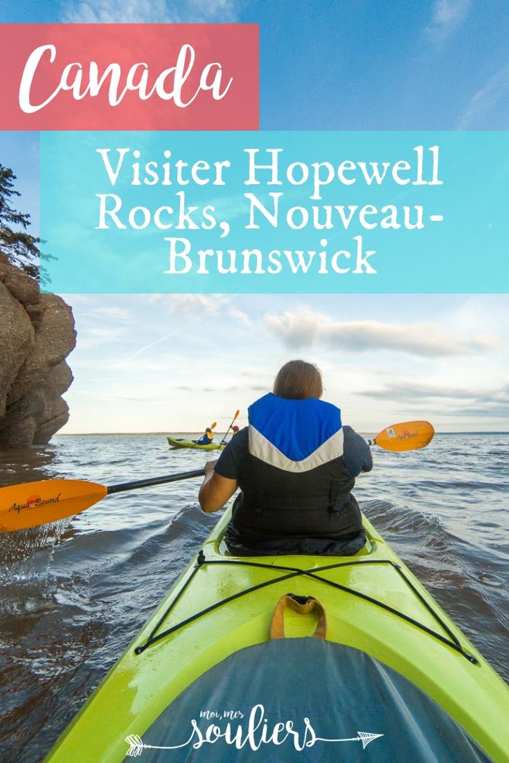 Rochers Hopewell Rocks en kayak