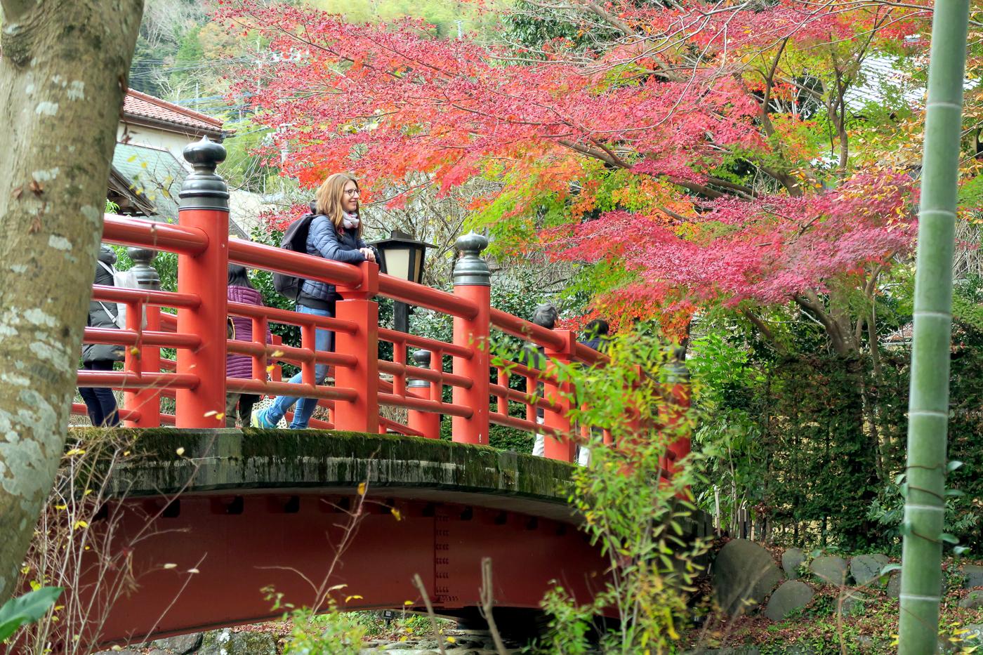 Voyage pour les momiji au Japon en automne - Fille sur pont rouge