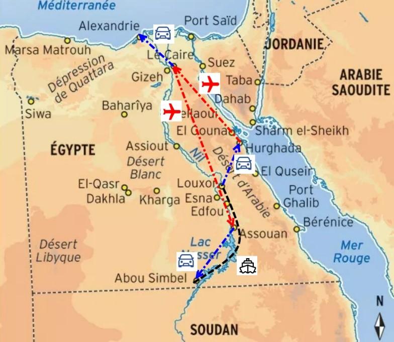 Aperçu de notre itinéraire en Égypte