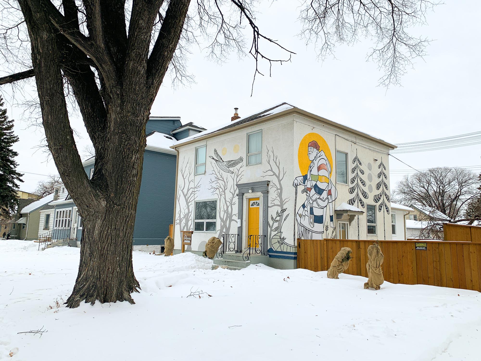 Façade de La Cabane Guesthouse où dormir par cher à Winnipeg
