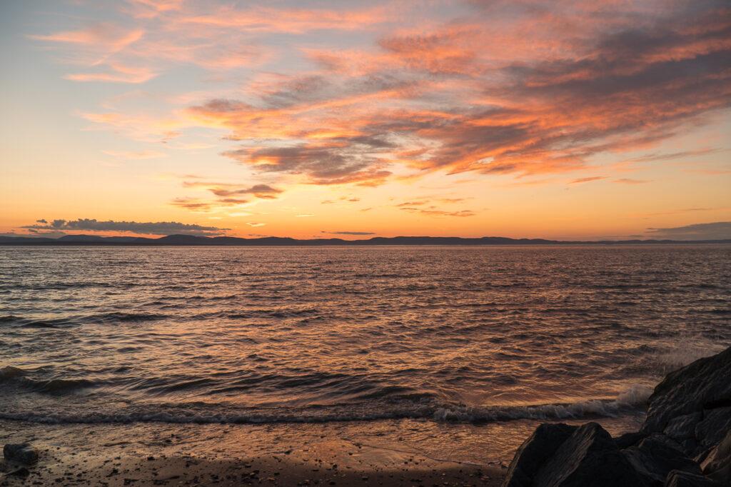 coucher de soleil sur le fleuve Saint-Laurent