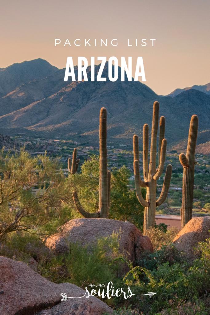 Packing List pour l'Arizona
